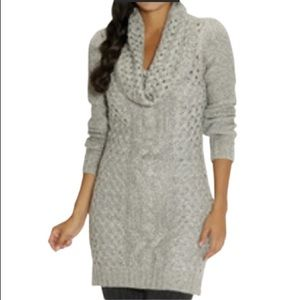 Cable Knit Sweater Dress With Cowl Neck In Grey